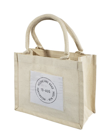 12 ct Natural Canvas Wedding Favor Tote Bags with Front Pocket - By Dozen