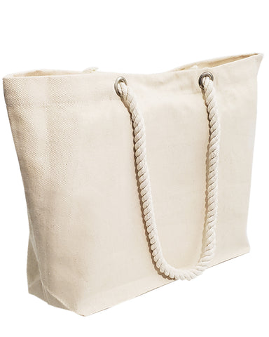 36 ct Large Canvas Beach Tote Bag with Fancy Rope Handles - By Case