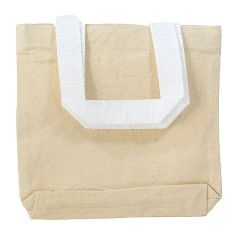 "288 ct 8"" Mini Cotton Canvas Gift Tote Bags - By Case"