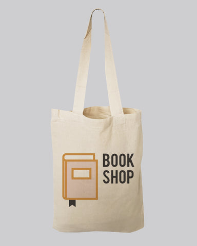 "9"" Small Custom Tote Bags 100% Cotton - Personalized Book Tote Bags"