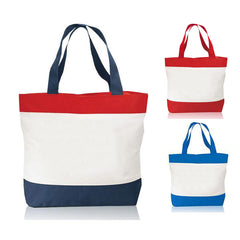 Tri-Color Deluxe Poly Zipper Beach Tote Bags