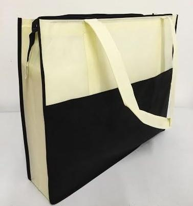 Two Tone Polypropylene Large Zippered Tote Bag