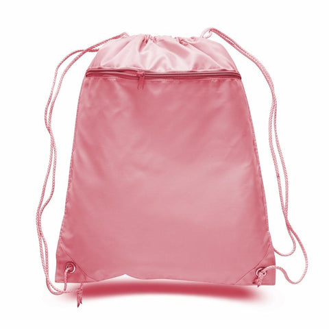 Polyester Drawstring Bags with Zippered Front Pocket POL11 (CLOSEOUT)