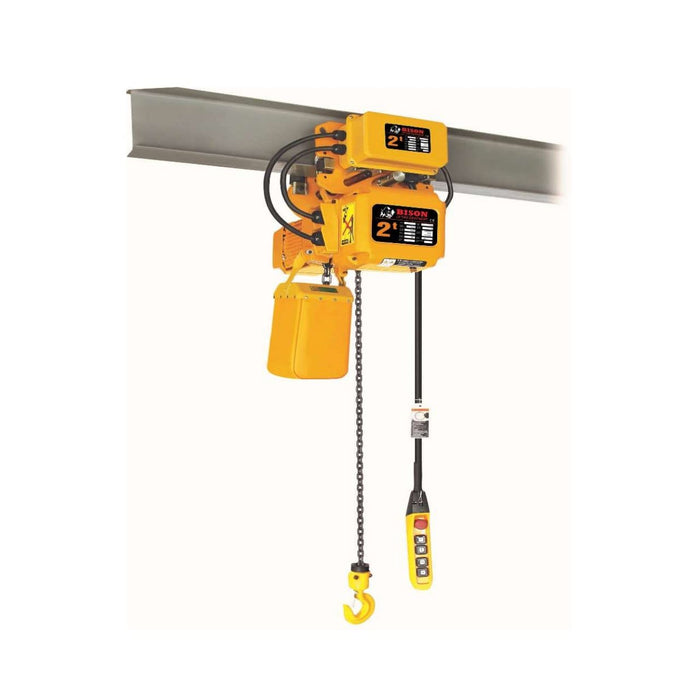 Bison Lifting Equipment HHBD01SK-01+WPC05 5 Ton 20 ft Lift 3 Phase Single Speed Electric Chain Hoist with Trolley