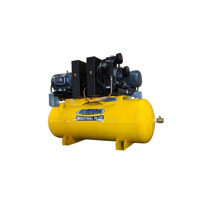 EMAX 20HP V4 1PH 240 gallon Horizontal Duplex mounted alernating Piston Compressor