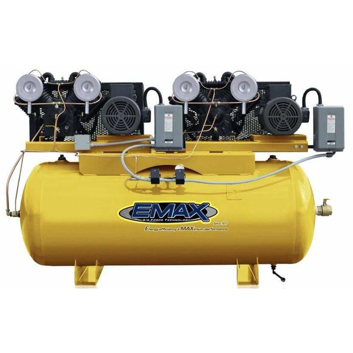 EMAX Industrial Plus Duplex Alternating V4 10-HP 120-Gallon Two-Stage Compressor (208/230V 1 Phase)