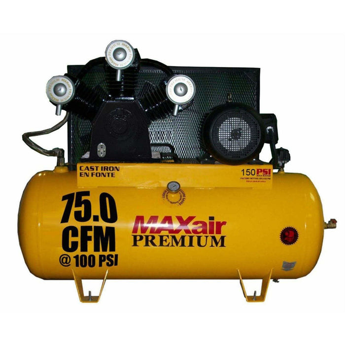 MaxAir 20 HP Horizontal 3 Phase Power 75 CFM 100psi Stationary Air Compressor - C203120H1-CS460-MAP