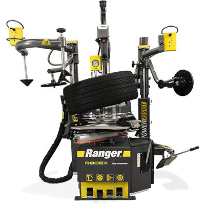 "Ranger R80EX Tilt Back Tire Changer Dual-Tower Assist 34"" Clamping Capacity Gray-Yellow - 5140139 5140139"