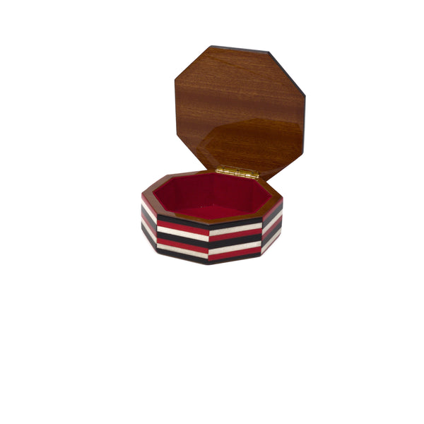 Stripes red octagonal box