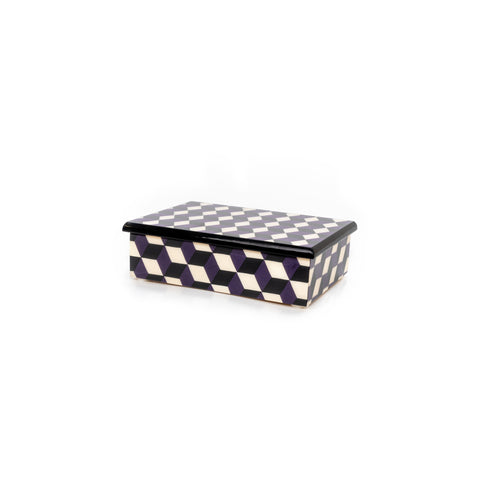 Cubes purple and black Rectangle Box