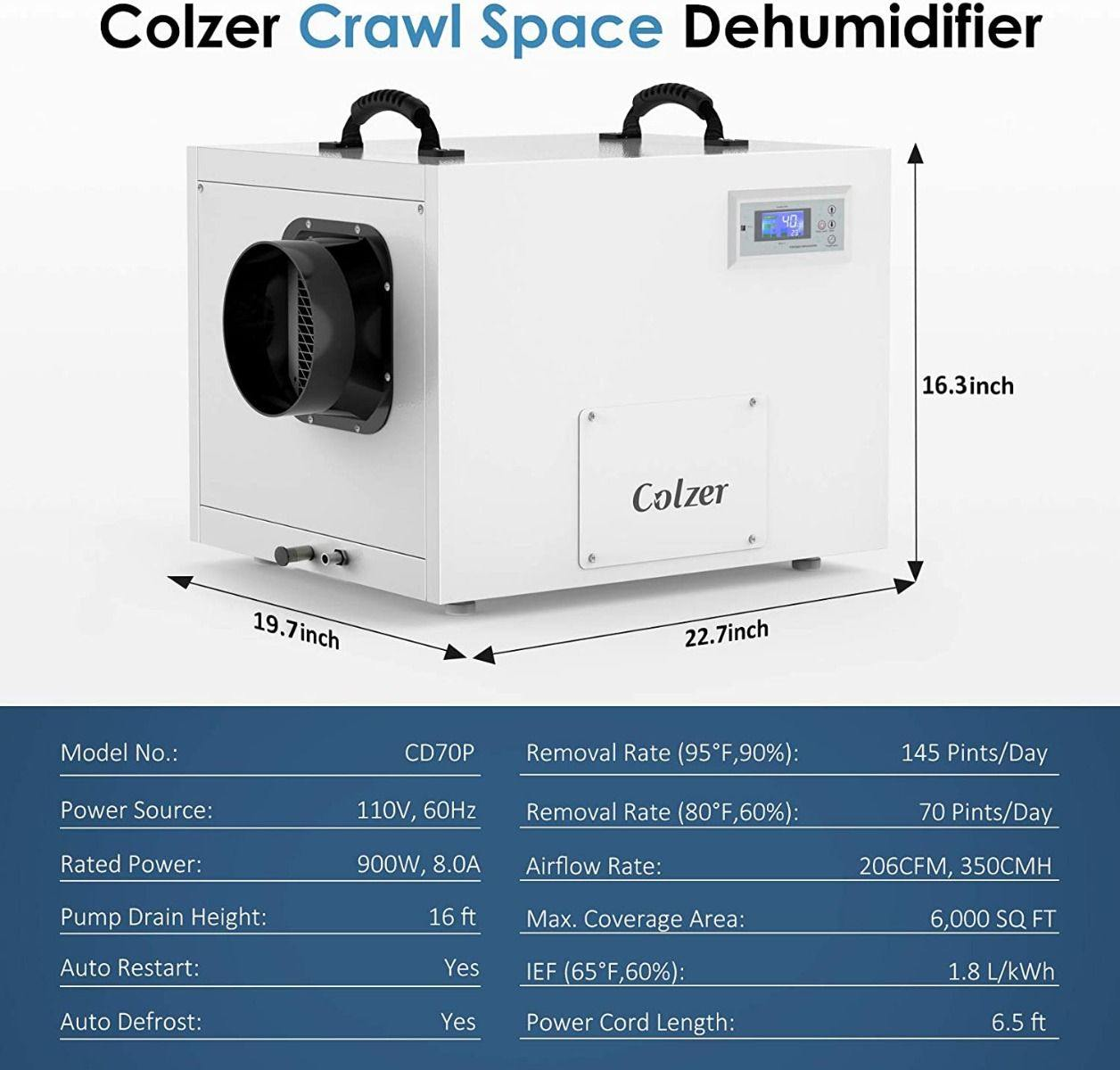 COLZER 145 Pints Commercial Dehumidifier with Pump and Drain Hose - Colzer