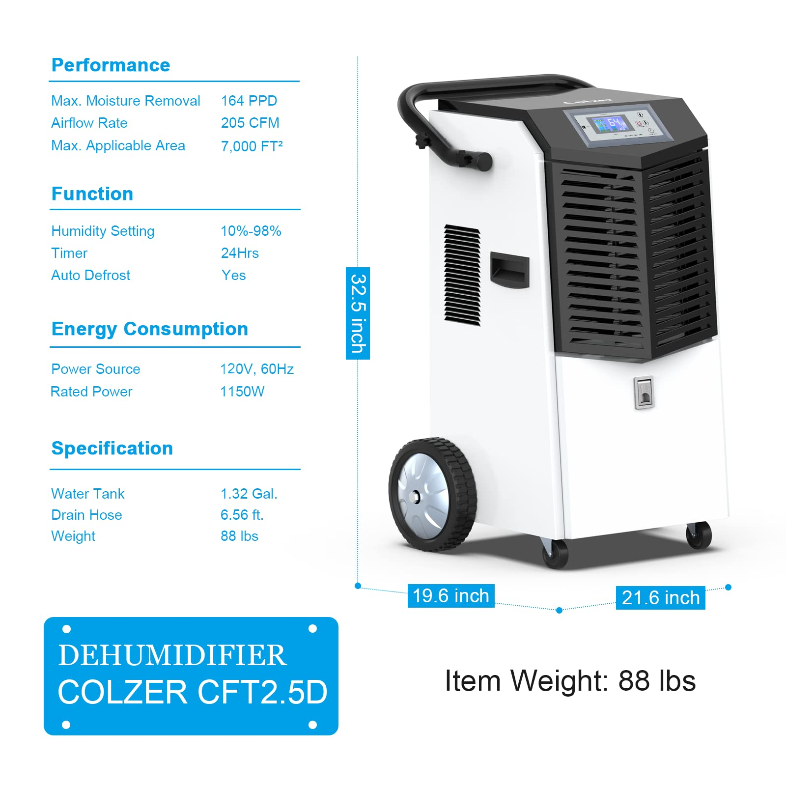 Colzer 164 Pints Commercial Dehumidifiers Water Damage Restoration Dehumidifiers - Colzer