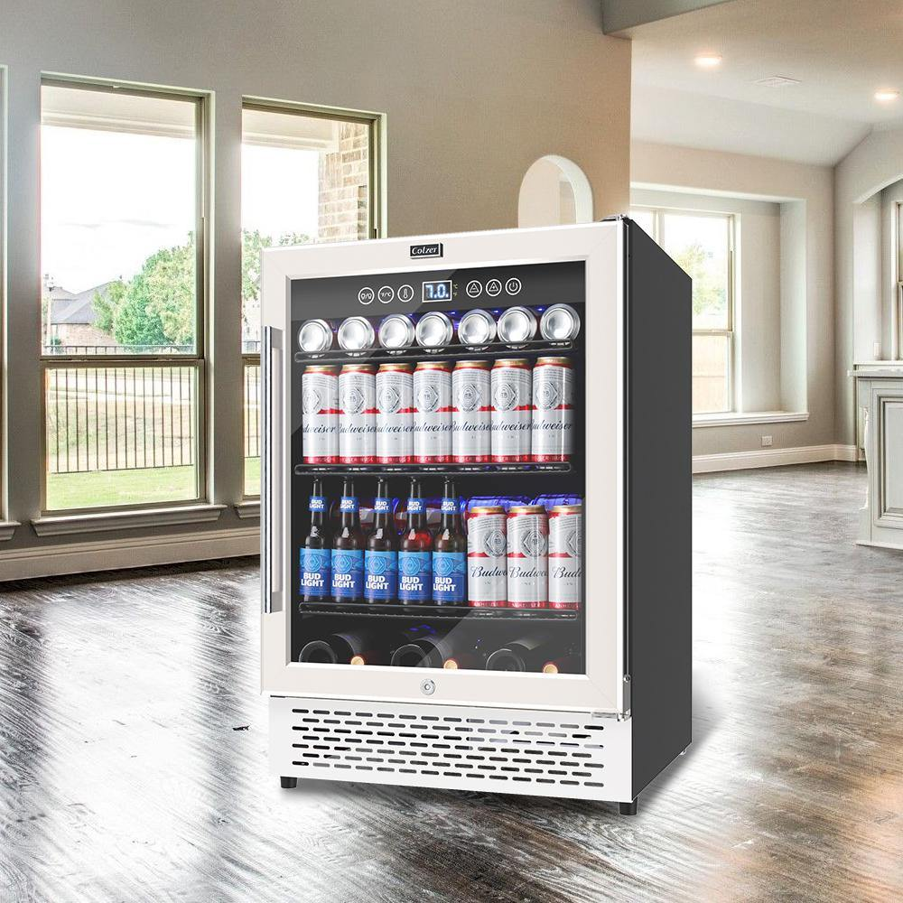 Colzer 24 Inch Beverage Refrigerator And Wine Cooler  Built-in Or Freestanding Fridge