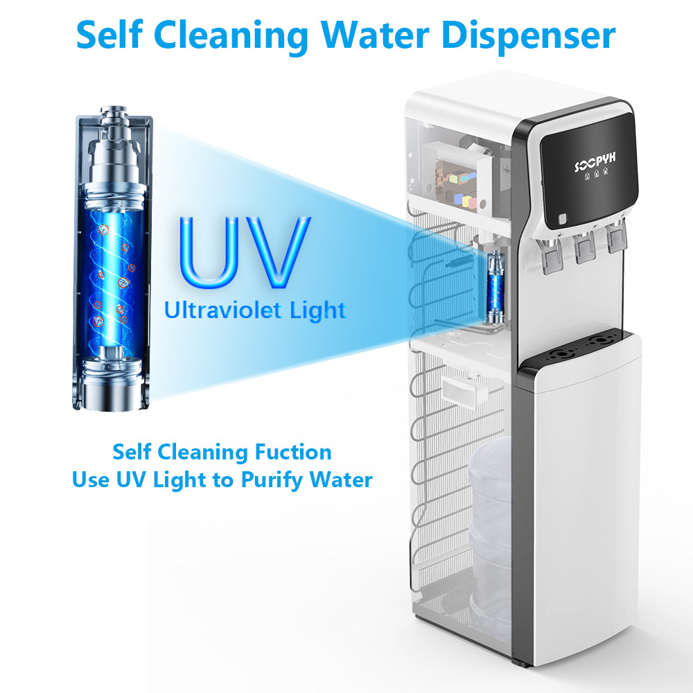 Water Dispenser with Self Cleaning for 3-5 Gallon Bottle - Colzer