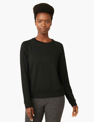 Beyond Yoga Cozy Black Fleece Sweatshirt.