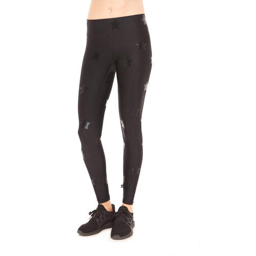 Black on Black Star foil leggings from Terez carried by Studio 128.