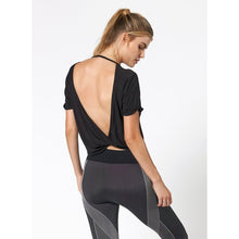 Load image into Gallery viewer, Stylish Black open back workout tops available from Studio 128.