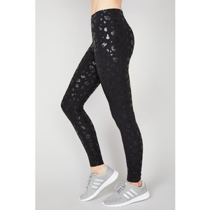 Cheetah print leggings in black foil from Terez.