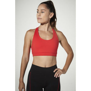 Get in Line red sports bra from 925 Fit.