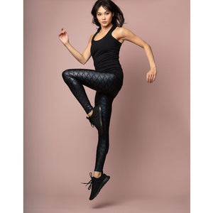 High waisted fish scale leggings from Emily Hsu Designs available at Studio 128.