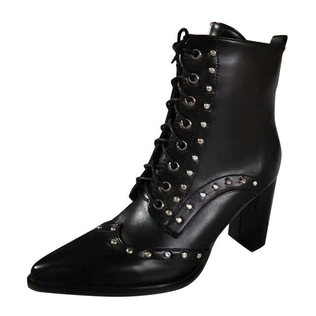 Women's High Heel Leather Boots