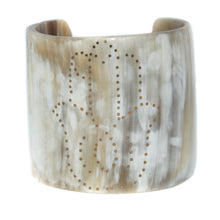 Load image into Gallery viewer, LIGHT HORN CUFF BRACELET, GOLD HAMSA HAND