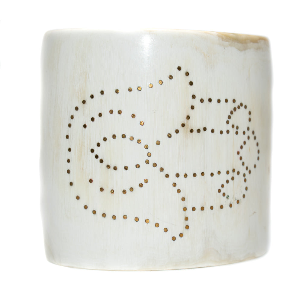 LIGHT HORN CUFF BRACELET, GOLD HAMSA HAND