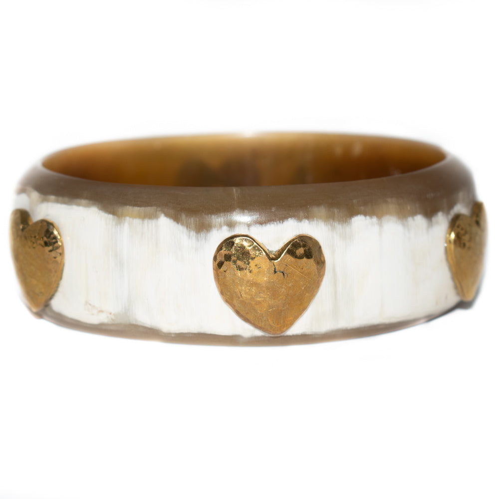 MILELE WHITE HORN BANGLE, BRONZE HEARTS