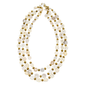 OSTRICH EGGSHELL NECKLACE, TRIPLE STRAND