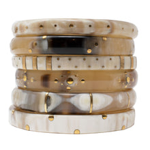 Load image into Gallery viewer, LIGHT HORN BANGLE, GOLD DOTS