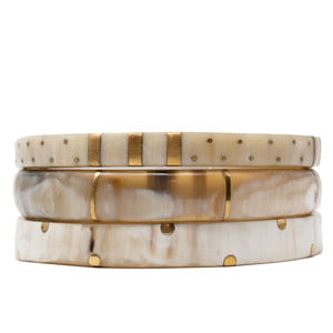 LIGHT HORN BANGLE, GOLD DOTS