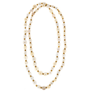 OSTRICH EGGSHELL NECKLACE, LONG