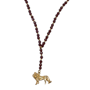 RUBY BEADED NECKLACE, GOLD LION PENDANT