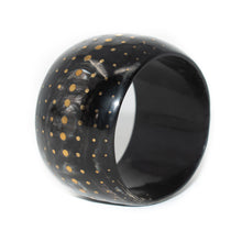 Load image into Gallery viewer, DARK WIDE HORN BANGLE, BRONZE DOTS
