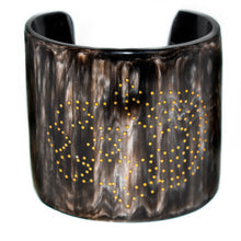 Load image into Gallery viewer, DARK HORN CUFF BRACELET, GOLD HAMSA HAND