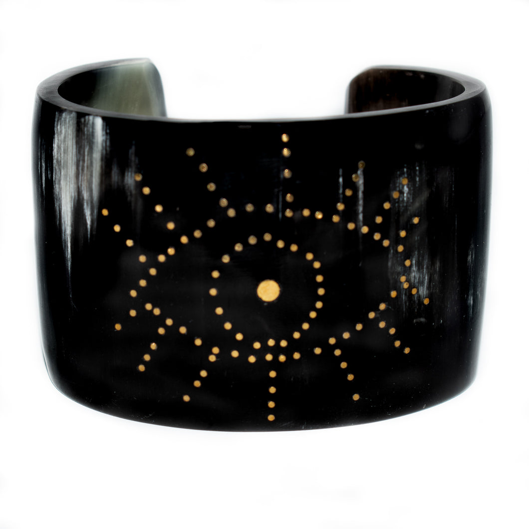 DARK HORN CUFF BRACELET, GOLD EYE