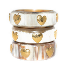 Load image into Gallery viewer, MILELE WHITE HORN BANGLE, BRONZE HEARTS
