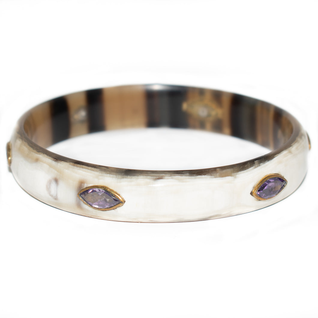 MZAZI LIGHT HORN BANGLE, AMETHYST STONE