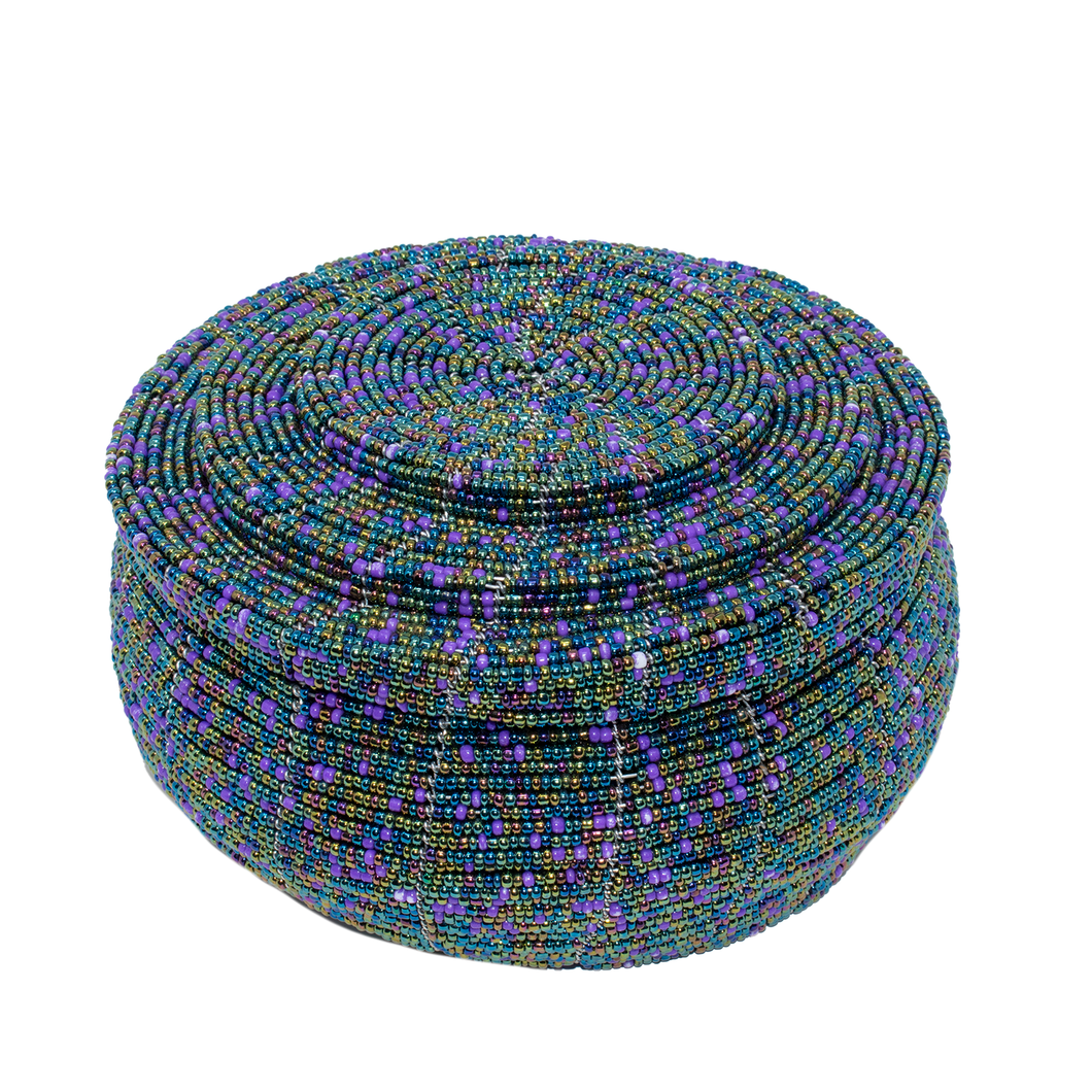 MAASAI BEADED BOWL & LID, BLUE