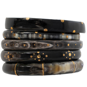 DARK HORN BANGLE, GOLD POLKA DOTS