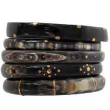 Load image into Gallery viewer, DARK HORN BANGLE, 3 GOLD DOT PATTERN
