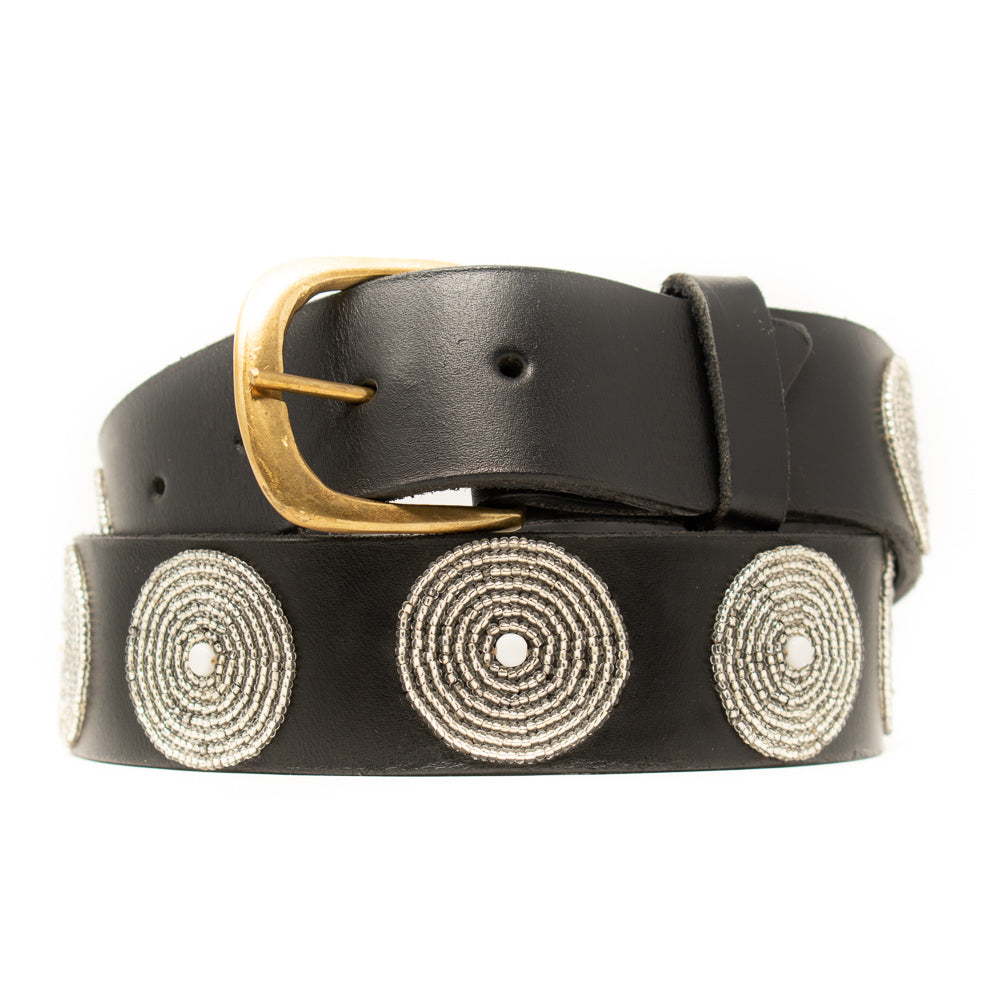 BLACK LEATHER BELT, SILVER & WHITE BEADED MEDALLIONS