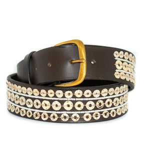 OSTRICH EGGSHELL BELT, DARK BROWN, THREE ROWS