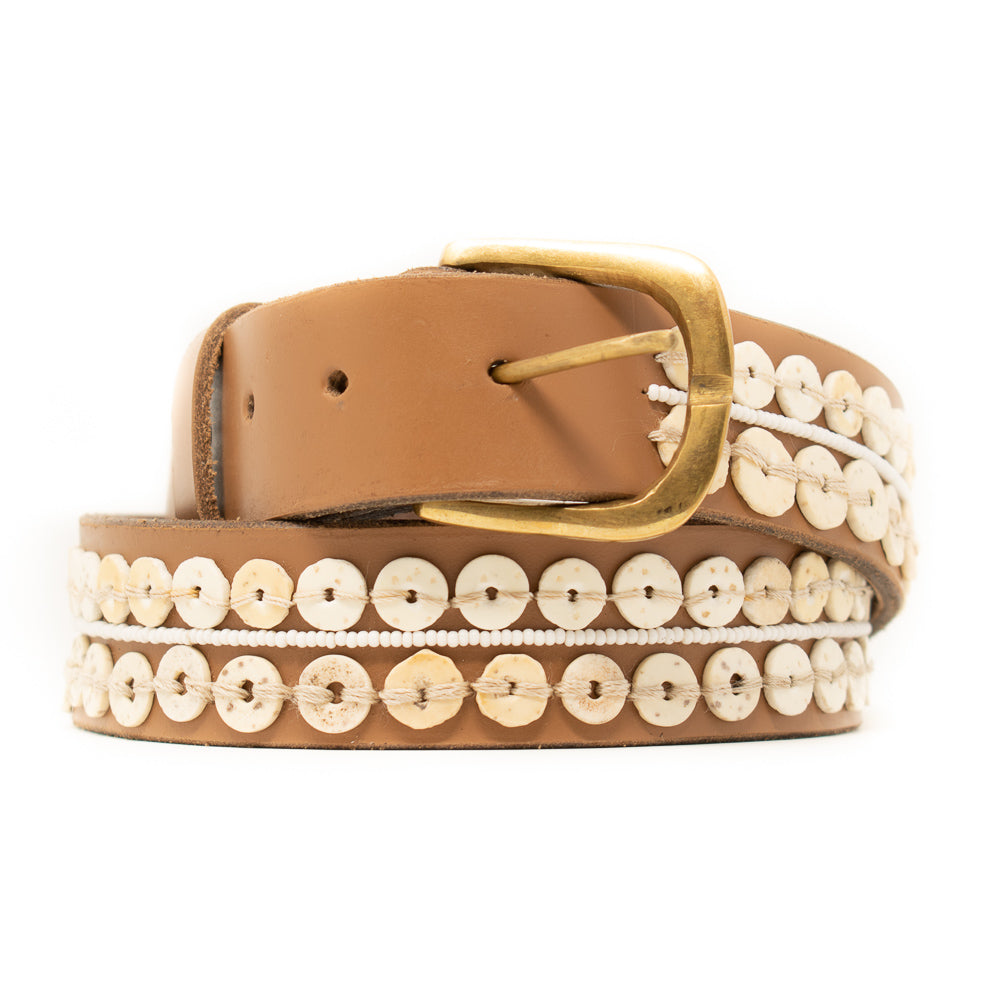 OSTRICH EGGSHELL BELT, TAN