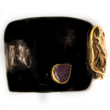 Load image into Gallery viewer, DARK HORN CUFF, RUBY & GOLD ELEPHANT