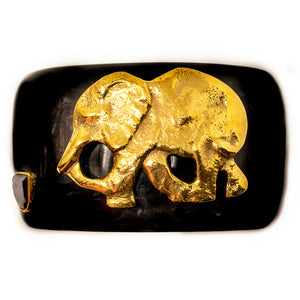 DARK HORN CUFF, RUBY & GOLD ELEPHANT