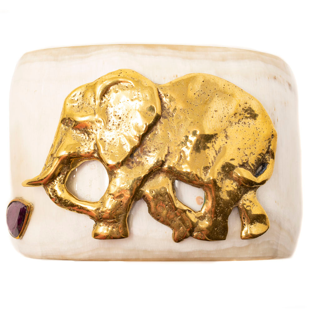 LIGHT HORN CUFF, RUBY & GOLD ELEPHANT