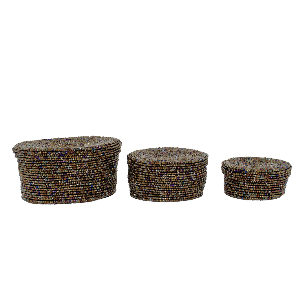 MAASAI BEADED ROUND NESTING BOXES, COPPER