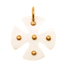 Load image into Gallery viewer, MALTESE LIGHT HORN CROSS PENDANT, GOLD DOTS