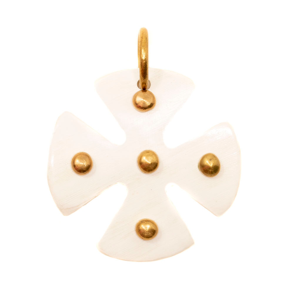 MALTESE LIGHT HORN CROSS PENDANT, GOLD DOTS